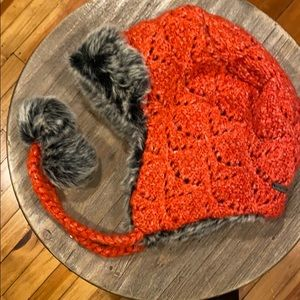 Orange knit and Faux fur hat